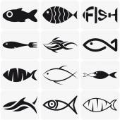 Set of creative black fish icons on white background — Stock Vector