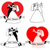 Sketches of beautiful young bride and groom in dance — Stock Vector