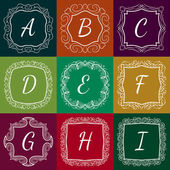 Set of monograms hand drawn style colorful with frames — Stock Vector