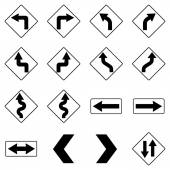 Set of black road traffic signs. Vector — Stock Vector