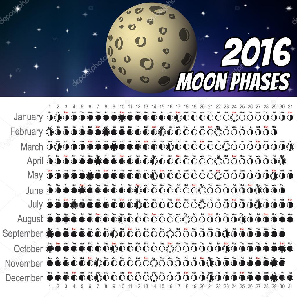 Calendario lunar 2016 — Archivo Imágenes Vectoriales © artoptimum ...