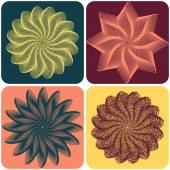 Set of abstract flowers. Vector — Stock Vector