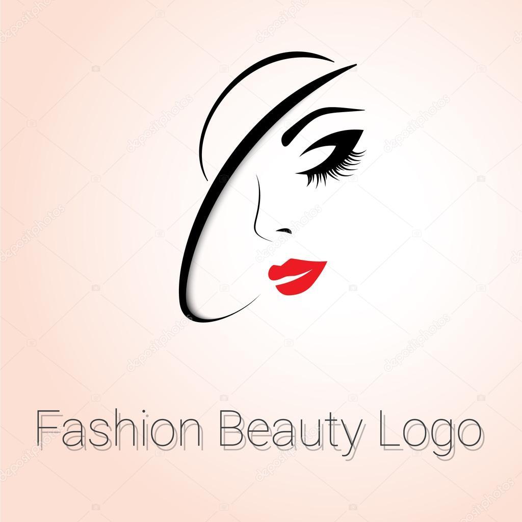 Logo de mode de beauté. Femme avec chapeau — Image ...