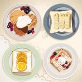 Food set breakfast — Stok Vektör