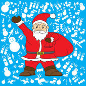 Santa clause with snow background for Christmas's Day vector — Stock Vector