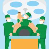 Obstetrician team and doctor holding a baby in the delivery room — Stock Vector
