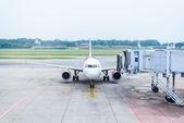 Jet bridge from an airport terminal gate  — Stock Photo