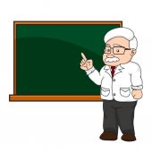 Illustration of a professor or teacher at a chalkboard. — Stock Vector