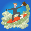 Illustration of Young businessman surfing money wave on blue background vector — Stock Vector #62131061