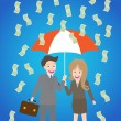 Young smiley couple with umbrella standing under money rain — Stock Vector #62131097