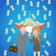Young smiley couple with upturned umbrella standing under money rain — Stock Vector #62131103