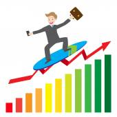 Illustration of  businessman surfing  business arrow wave on chart vector — Stock Vector