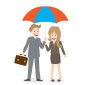 Young smiling businessman and woman with opened umbrella isolate on white background — 图库矢量图片