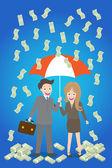 Young smiley couple with umbrella standing under money rain — Stock Vector
