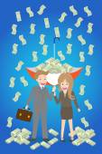 Young smiley couple with upturned umbrella standing under money rain — Stock Vector