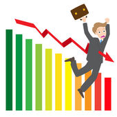 Illustration of arrow wave statistics on chart kill businessman vector — Vector de stock