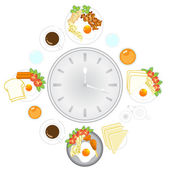 Clock with food and kitchen utensils, meal time, vector, illustr — Stock Vector