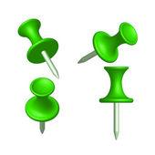 集绿色针不同视图、 图钉、 矢量、 插图 — 图库矢量图片