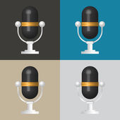 3D Microphone icon, classic microphone symbol on color backgroun — Stock Vector