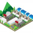 Isometric of nuclear power plants, vector, illustration — Stock Vector #76326699