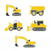 Tractor, excavator, bulldozer, crawler set , Wheeled and continuous track with blade and backhoe. — Stock Vector