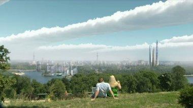 Young couple, futuristic landscape — Stock Video