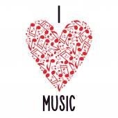 Heart With Notes. Musical Heart. I Love Music — Stock Vector
