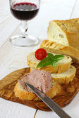 French Snack: French maize bread, pate and glass of red wine — Stock Photo