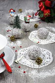 Christmas Tea Party: chocolates in coconut flakes in the New Yea — Stock Photo