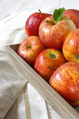 Red autumn apples on gray tray — Stock Photo