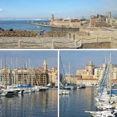 Southern France:  landmarks in Marseille, Old Port, collage — Stock Photo