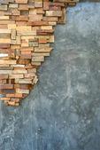 水泥墙和木纹理 — 图库照片