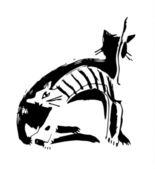 White-cat,-black-cat — Stock Vector
