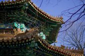 Bright patterned roof of the Buddhist monastery — Photo