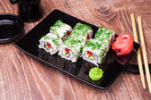 Vegetarian sushi roll — Stock Photo