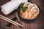 Seafood fried rice in bowl — Stock Photo