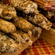 Dried meats for sale at a market — Stock Photo #76130151