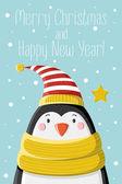 Penguin in striped cap — Stock Vector