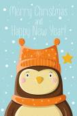 Cute owl in knitted cap — Vector de stock