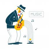Man playing the saxophone — Stock Vector