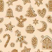 Pattern with gingerbread figures — Stock Vector