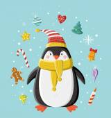 Cute penguin in striped knitted cap — Stock Vector