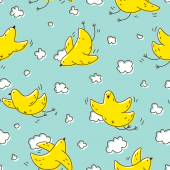 Yellow birds soaring in the clouds — Vetor de Stock