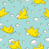 Yellow birds soaring in the clouds — Vector de stock