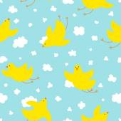 Yellow cute birds in flight — Cтоковый вектор