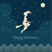Vector illustration for Halloween. Witch flying on a broom. — Stock Vector