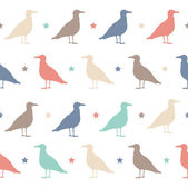 Seamless vector pattern with colorful birds and stars. Happy Halloween party. — Stock Vector