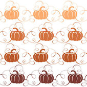 Seamless pattern with pumpkins and swirls. Pumpkins for Halloween party. — Stock Vector