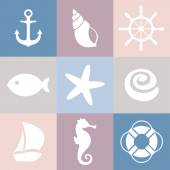 Set of sea icons. Shell, starfish, fish, anchor, steering wheel, life preserver, ship, sea horse. — Stock Vector