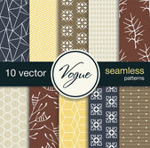 10 fashionable seamless vector patterns. Subject fashion. — Stock Vector